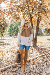 cortinsession,blogger,sweater,shoes,bag,sunglasses,thigh high boots,over the knee,fall outfits