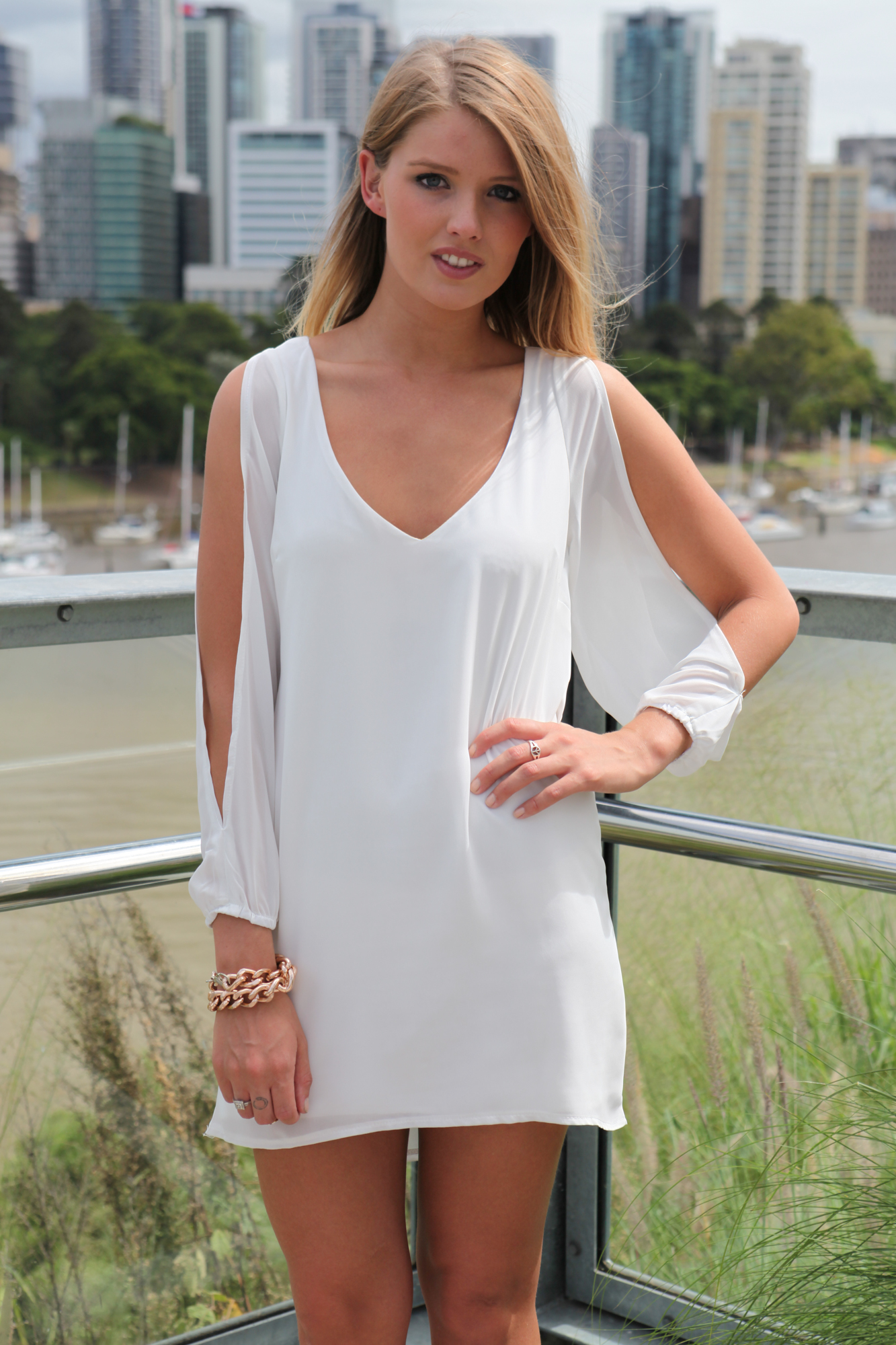 White Cocktail Dress - White Long Sleeve Dress with | UsTrendy