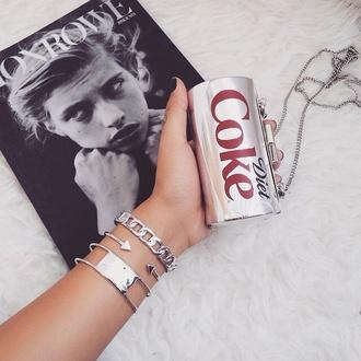 bag coke diet coke clutch silver clutch metal clutch coke clutch