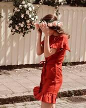 dress,tumblr,mini dress,red dress,red mini dress,ruffle,ruffle dress,flower crown,wrap dress