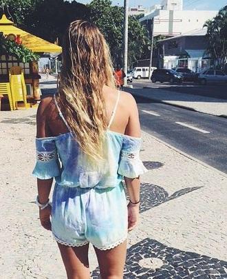 romper cute style boho tie dye top festival top fashion vans warped tour