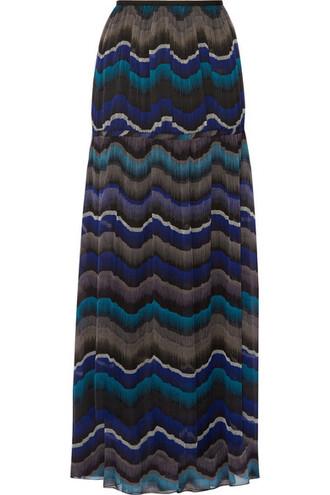 skirt maxi skirt maxi chiffon blue silk