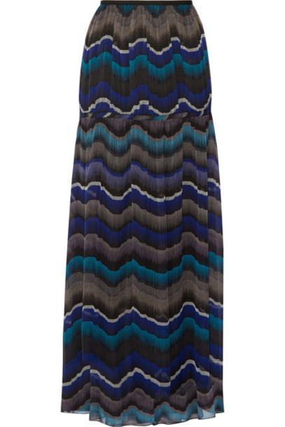 Diane Von Furstenberg skirt maxi skirt maxi chiffon blue silk