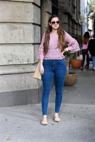 lamariposa blogger top jeans bag sunglasses shoes jewels