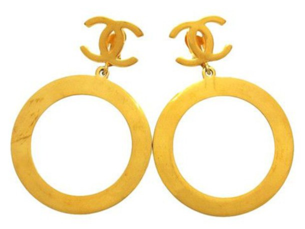 jewels gold chanel gold channel earrings chanel hoop earrings