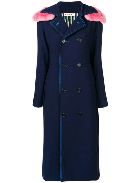 MARNI coat fur women blue wool