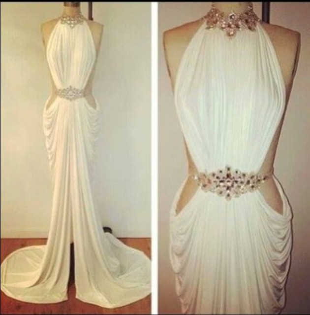 Real Made Sexy Vestidos De Fiesta Crystal Beaded High Neck White Mermaid Long Prom Dress 2014 DYQ912-in Prom Dresses from Apparel & Accessories on Aliexpress.com | Alibaba Group