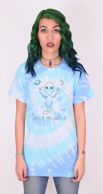 shirt shoplibrett tiedye dye blue alien aliens peace leave me alone tie dye tie dye shirt comfy grunge graphic graphic tee alien shirt alien tshirt graphic t shirt funny shirt