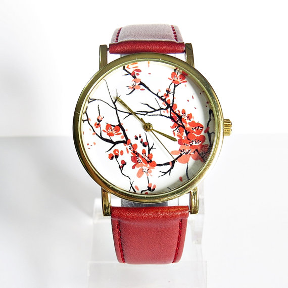 Cherry Blossoms Floral Watch, Vintage Style Leather Watch, Women Watches, Boyfriend Watch, Genuine Leather