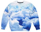 sweater,printed sweater,sweatshirt,clouds,clouds print,cloud print,blue sweater,all over print,full print sweater,jumper,pullover
