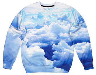 sweater printed sweater sweatshirt clouds clouds print cloud print blue sweater all over print full print sweater jumper pullover