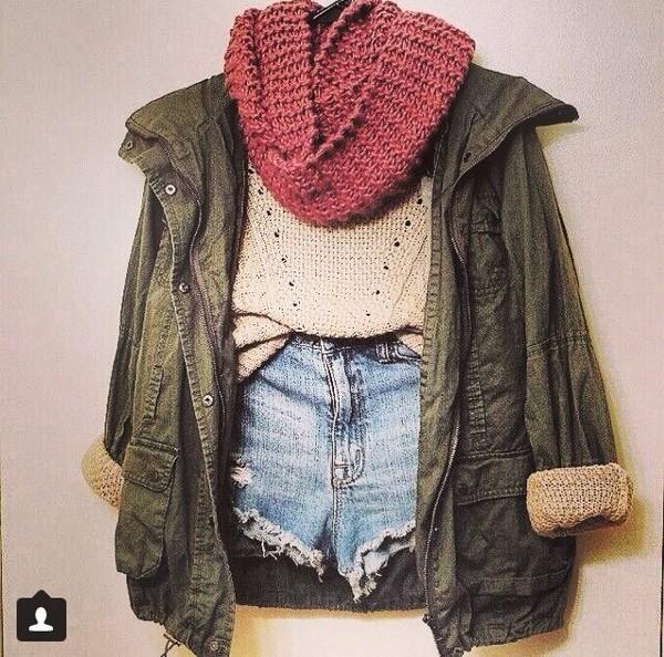 jacket camouflage scarf shorts sweater