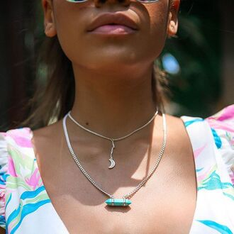 jewels moon moon necklace moon choker turquoise minc bossy bossy the label peppermayo