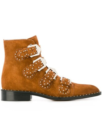 studded metal women boots ankle boots leather suede brown shoes