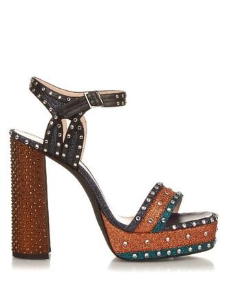 glitter embellished sandals platform sandals blue shoes