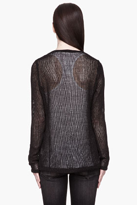 R13 Black Open-knit Scoopneck Sweater for women | SSENSE