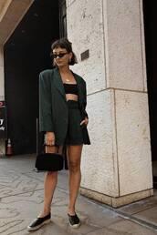 jacket,topc,crop tops,blazer,black blazer,shorts,espadrilles,sunglasses