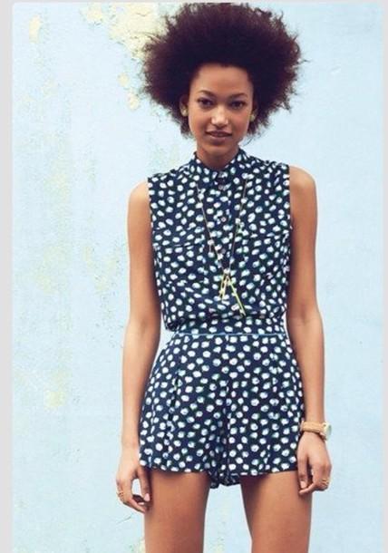 Dress romper cute navy polka dots summer - Wheretoget