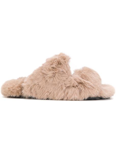 Suecomma Bonnie fur faux fur strappy women sandals nude shoes