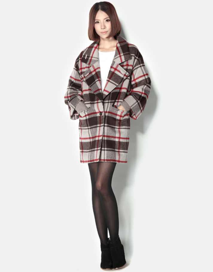 2013 New   Plaid Simple Women's Wool Coat  With Oversized Lapel Detail-in Wool & Blends from Apparel & Accessories on Aliexpress.com