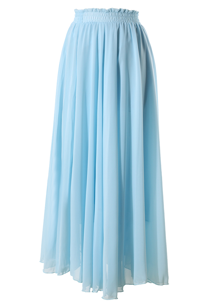 light blue maxi skirt retro and unique fashion