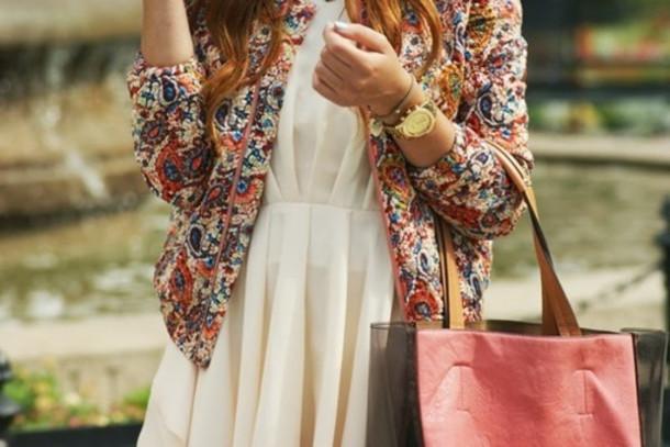jacket dress floral floral jacket bag watch jewels