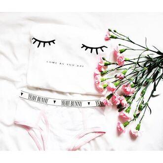 underwear yeah bunny retro cute pink white pastel high waisted panties boyshorts
