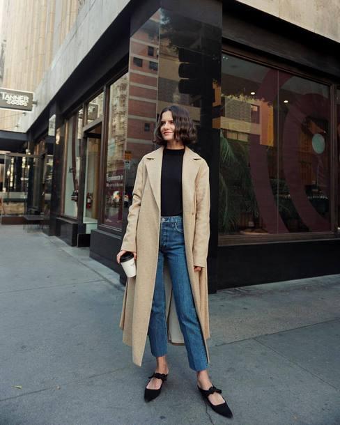 coat tumblr long coat camel long coat camel camel coat shoes black shoes bow shoes denim jeans blue jeans top black top