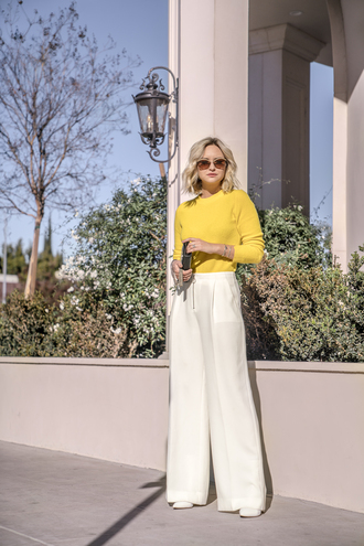 sunglasses late afternoon jewels blogger sweater pants shoes bag wide-leg pants yellow sweater winter outfits