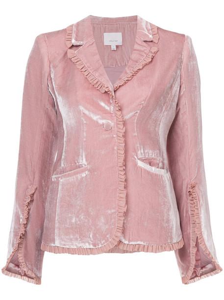 Cinq a Sept blazer women spandex silk velvet purple pink jacket