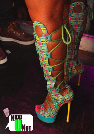 superbass nicki minaj heels colorful pink blue high heels fashion