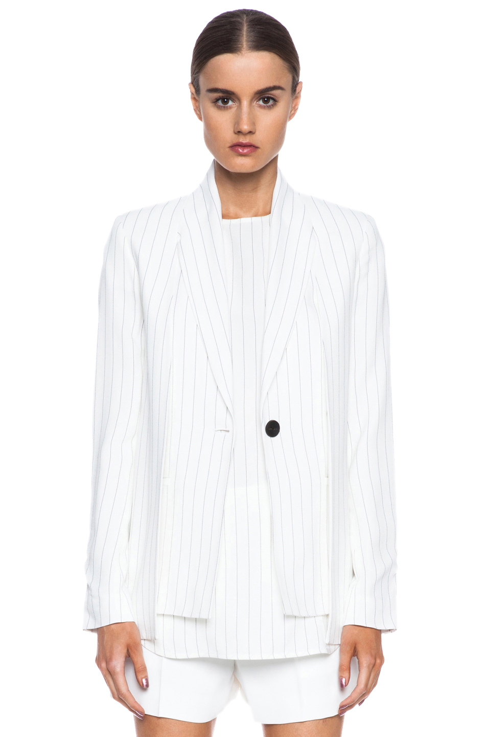 Thakoon|Button-front Acetate-Blend Blazer in Ivory & Black