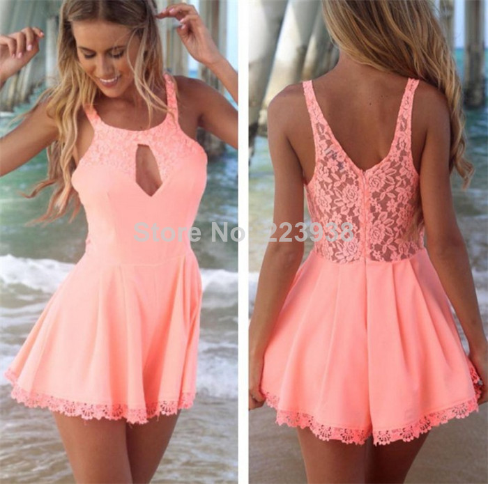 Summer New 2014 Women Fashion Hollow out Chiffon White lace playsuit Jumpsuits-in Dresses from Apparel & Accessories on Aliexpress.com