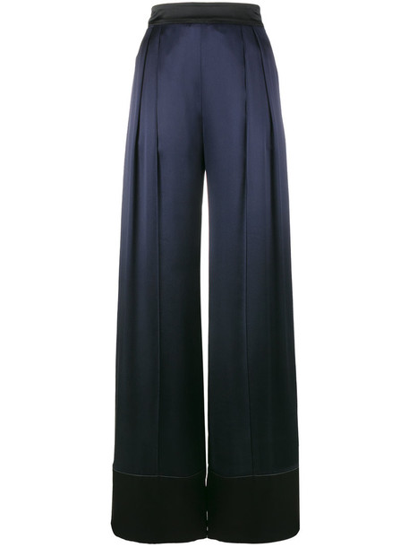 Michael Lo Sordo women blue silk satin pants