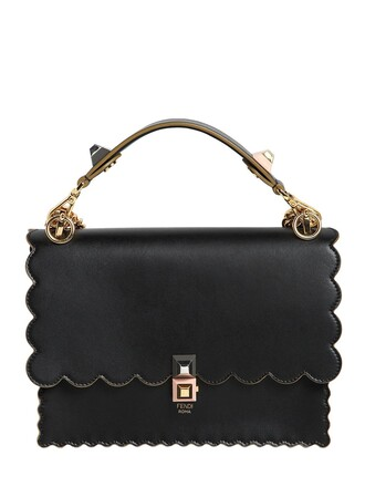 scalloped bag leather bag leather black