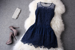 Online Shop 2013 Silk Organza Senior Water-soluble Flower Embroidered Lace One-piece Women Dress Aliexpress Mobile