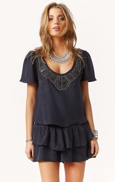 Ale by alessandra beaded applique silk top