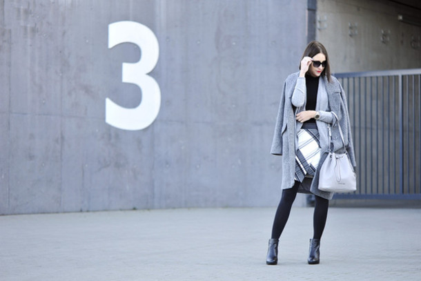 shiny sil blogger sunglasses skirt bag black boots winter outfits winter coat grey coat shoes jacket coat tights jewels