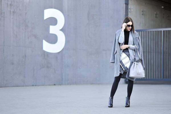 shiny sil blogger sunglasses skirt bag black boots winter outfits winter coat grey coat shoes jacket coat tights jewels