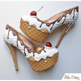 shoes heels high heels ice cream cream chocolate cherry bakery trendy suede shoes girl fashion pop art platform high heels cute high heels chic