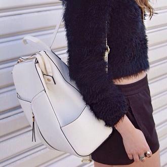 white bag bag white sweater pale designer grunge model designer backpack