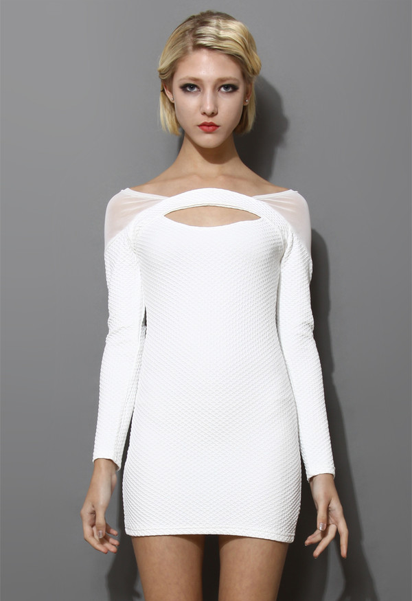 dress white mesh-paneled body-con