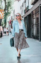 thehuntercollector,blogger,skirt,jeans,jacket,tank top,bag,sunglasses,belt,denim jacket,gucci belt,round bag,sandals