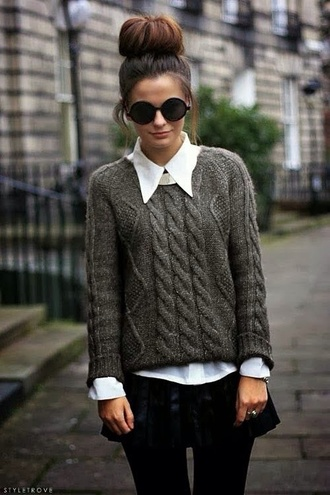 sweater white shirt classy bun round sunglasses cable knit grey sweater fall sweater clothes style fashion brown cute long sleeves comfy girly cardigan woolen winter sweater black skirt sunglasses black sunglasses winter outfits tumblr outfit