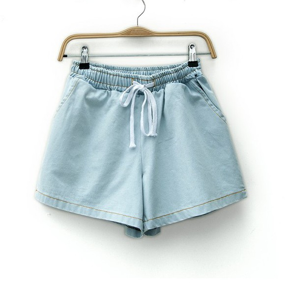 shorts blue denim shorts denim jeans beach High waisted shorts