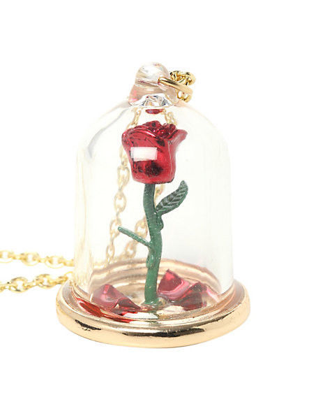 Disney beauty and the beast enchanted rose in glass dome pendant necklace