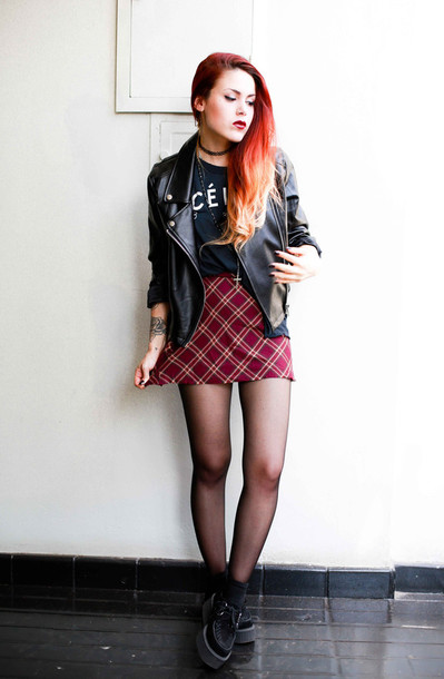 le happy blogger grunge plaid skirt perfecto leather jacket celine creepers grunge shoes top skirt jacket shoes black t-shirt rock