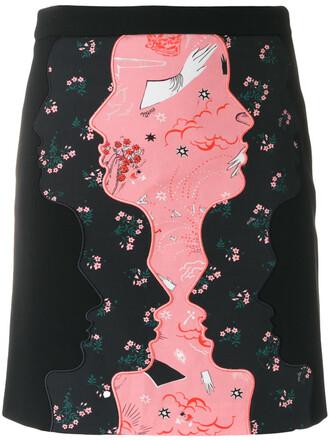 skirt mini skirt mini women spandex cotton print black wool