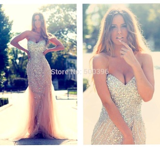 dress champagne mermaid prom dress glitter