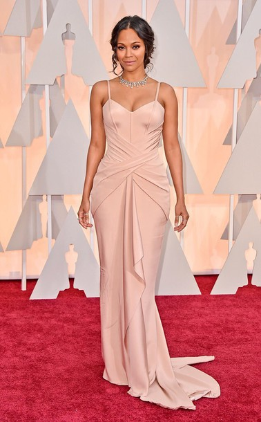 dress zoe saldana beige gown pink dress formal gown oscars red carpet beige dress